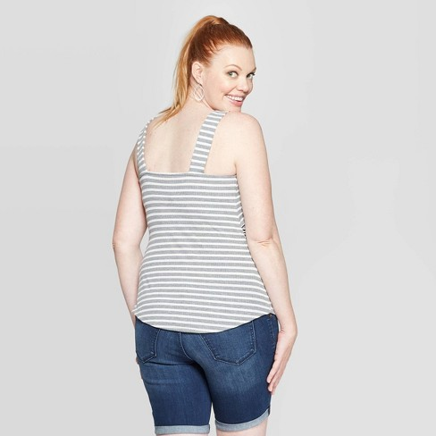 76cce67217295 Maternity Striped Square Neck Button Front Tank Top - Isabel ...