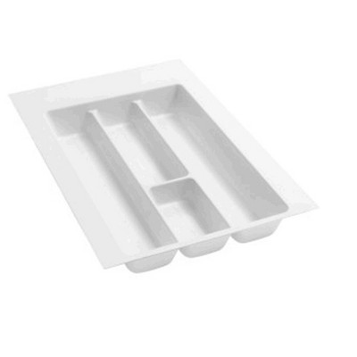 Rev-A-Shelf GUT-12W-52 Medium Trim-to-Fit Glossy Plastic Utility 4 Compartment Tray Insert Utensil Organizer for Kitchen Cabinet Drawers