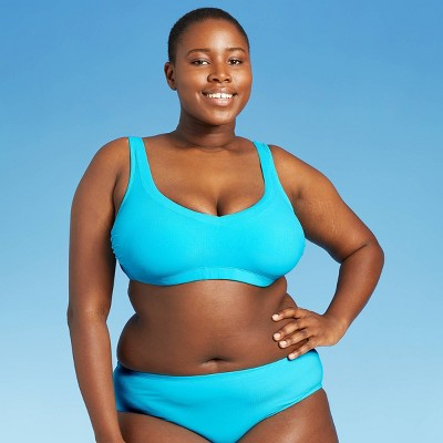 Juniors' Ribbed V-Neck Bralette Bikini Top - Xhilaration™ Bright Blue