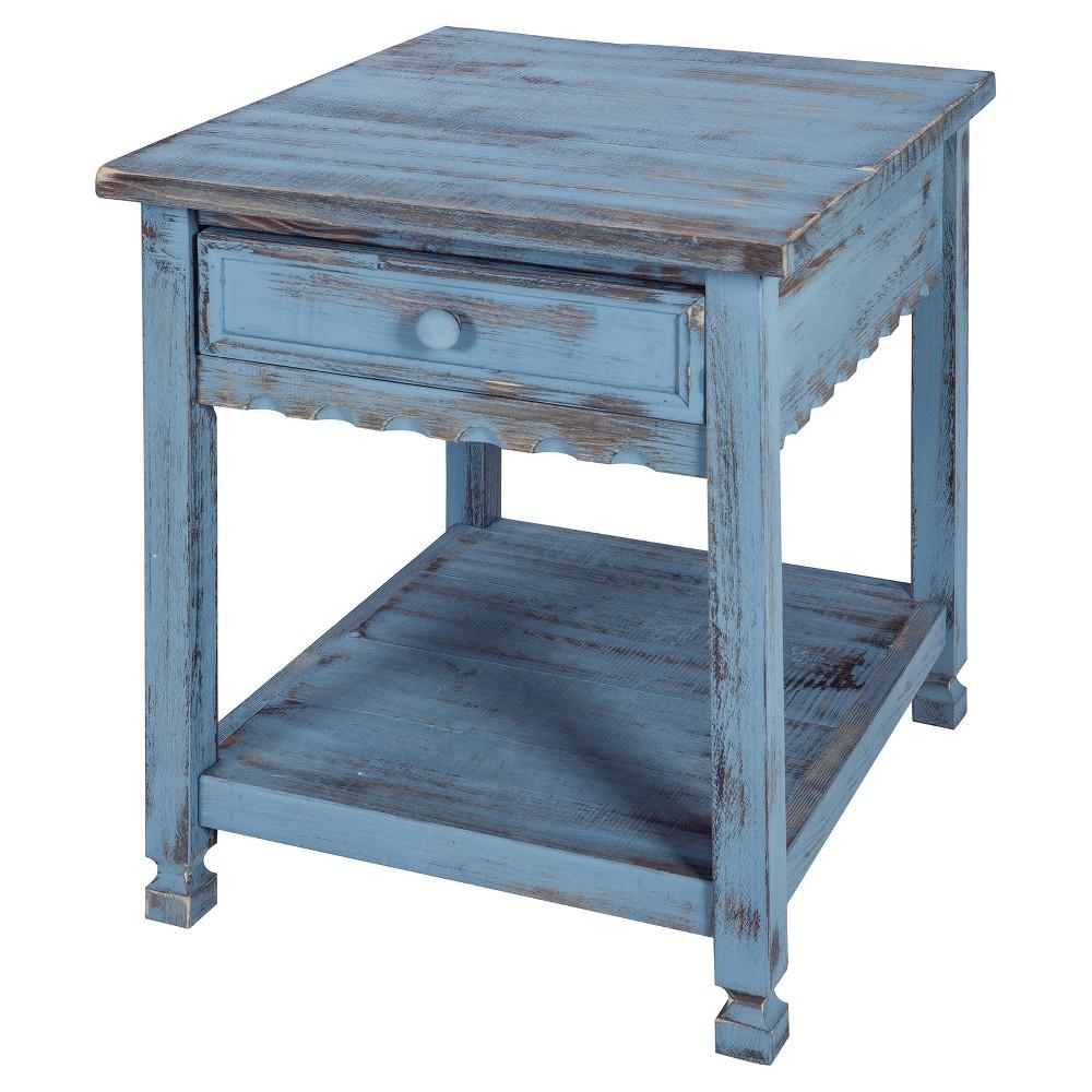 Image of 1-drawer End Table Hardwood Blue - Alaterre Furniture