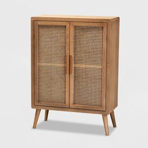 Alina Wood And Rattan 2 Door Accent Storage Cabinet Oak Baxton Studio Target