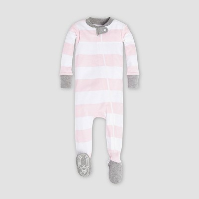 Burt's Bees Baby® Baby Girls' Rugby Stripe Organic Cotton Footed Pajama - Pink 12M