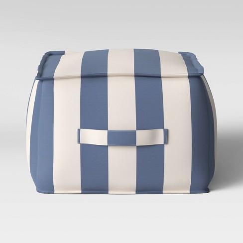 Cabana Stripe Outdoor Pouf  DuraSeason Fabric™ Navy/Cream - Threshold™ - image 1 of 2