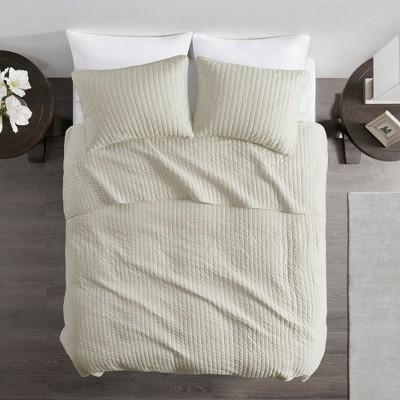 Light Khaki Mitchell Solid Brushed Fabric Quilt Set King 3pc
