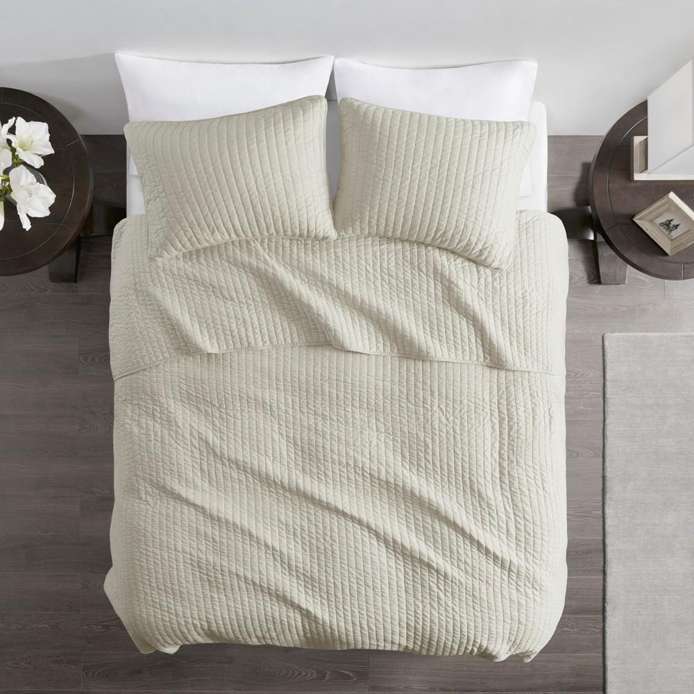 Light Khaki Mitchell Solid Brushed Fabric Quilt Set King 3pc, Ivory