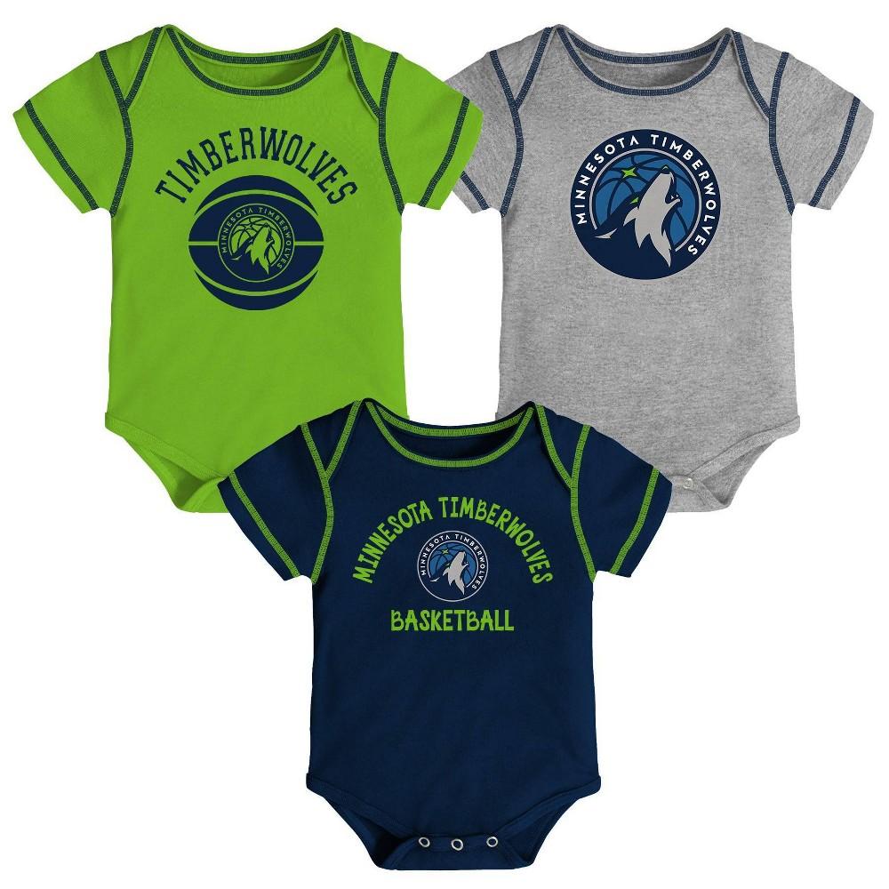 Nba Minnesota Timberwolves Baby Boys 39 Rookie Bodysuit Set 3pk 3 6m