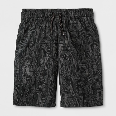 Boys' Knit Pull-On Shorts - Cat & Jack™ Charcoal Print - image 1 of 1