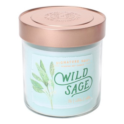 15.2oz Lidded Glass Jar 2-Wick Candle Wild Sage - Signature Soy