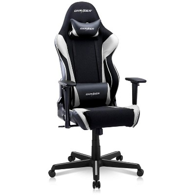 DXRacer OH/RAA106/NR Racing Series Adjustable Ergonomic Gaming Home Office Desk Chairt, Swivel Base, Wheels, and Headrest, Black and White