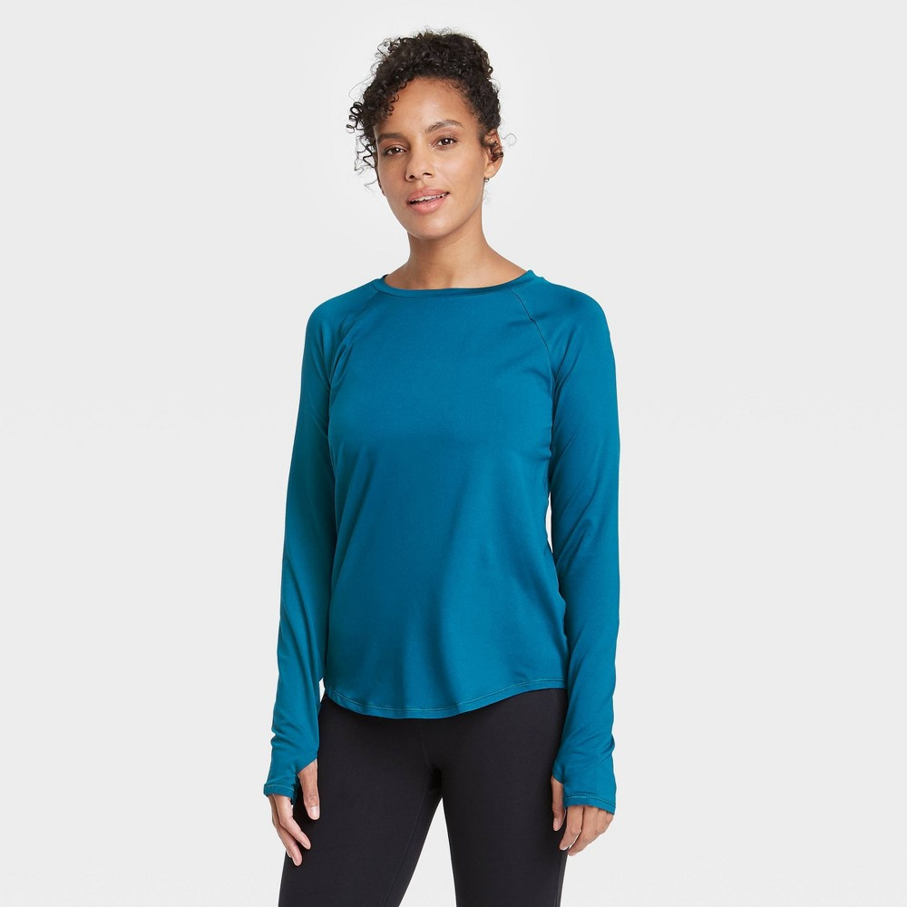 Women 39 S Essential Crewneck Long Sleeve T Shirt All In Motion 8482 Teal Xl
