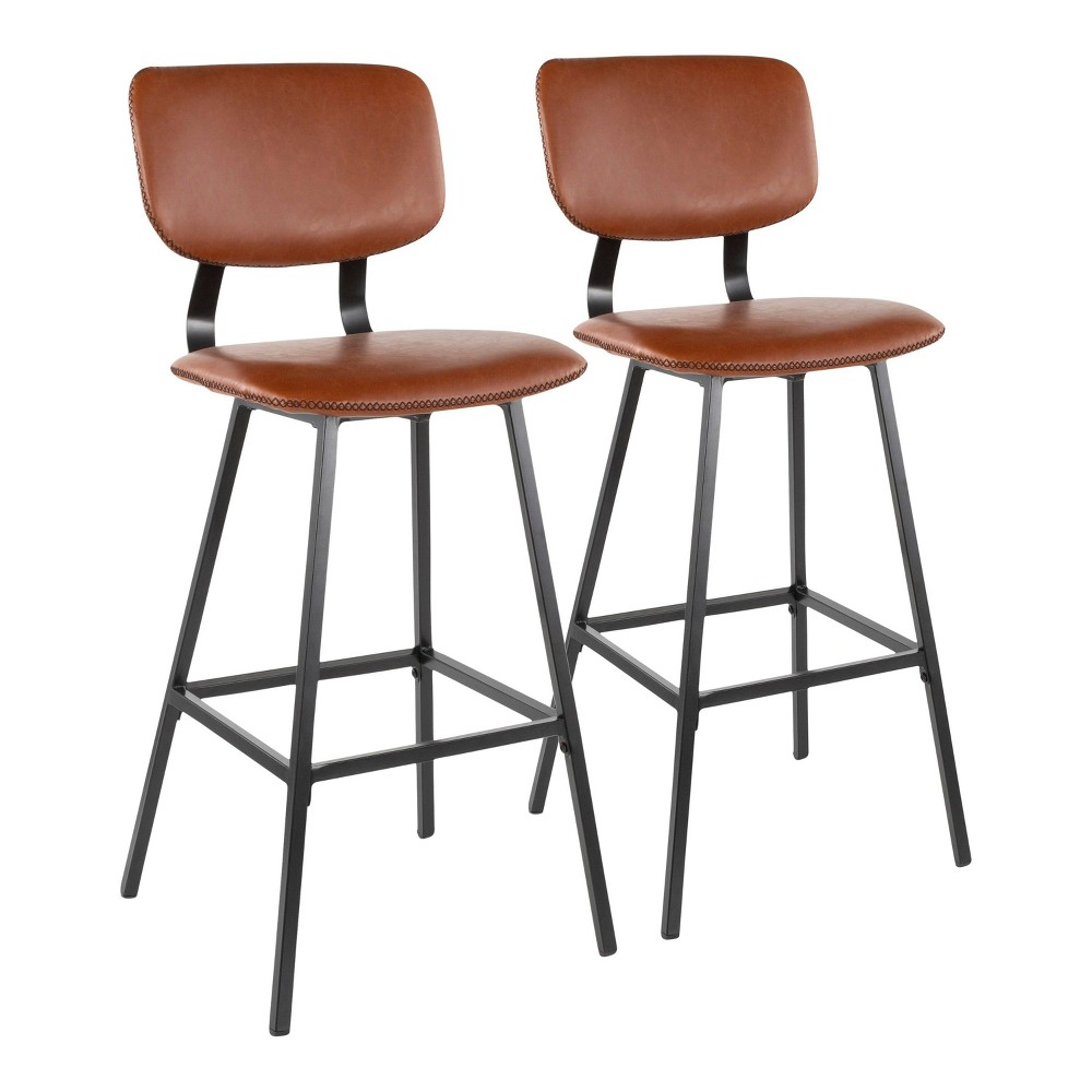 Set of 2 Foundry Contemporary Barstool Faux Leather Black/Cognac (Red) - LumiSource