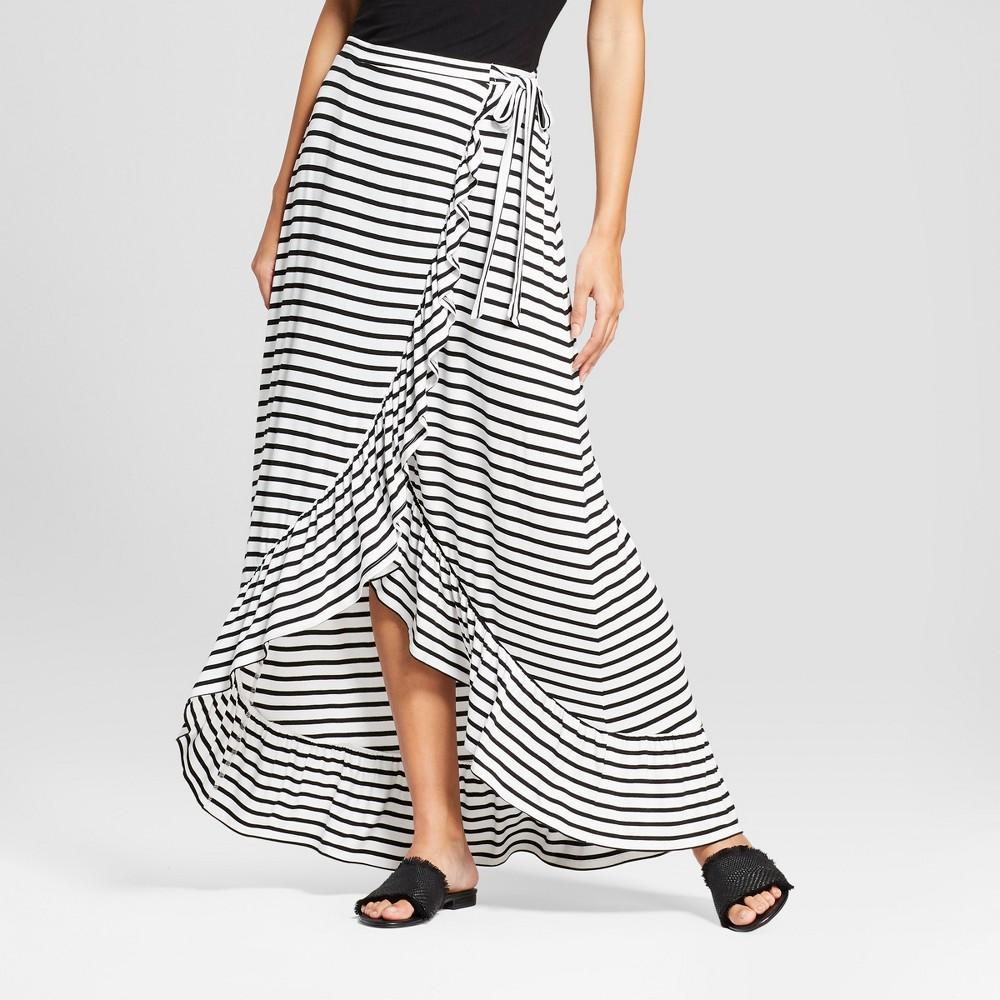 Women's Striped Tie Waist Wrap Front Hi-Low Ruffle Hem Maxi Skirt - Alison Andrews White/Black S