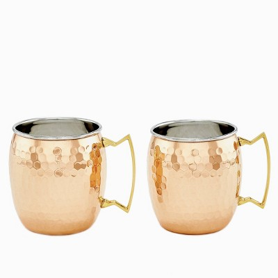 Old Dutch 16oz 2pk Stainless Steel Hammered Moscow Mule Mugs Copper