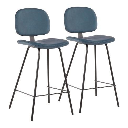 Super Set Of 2 Industrial Nunzio Counter Stools Blue Black Lumisource Inzonedesignstudio Interior Chair Design Inzonedesignstudiocom