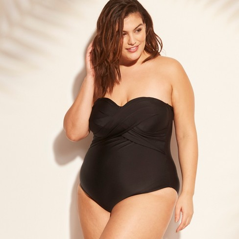 f64c1a035 Women's Plus Size Twist Front Bandeau One Piece Swimsuit - Kona Sol™ :  Target