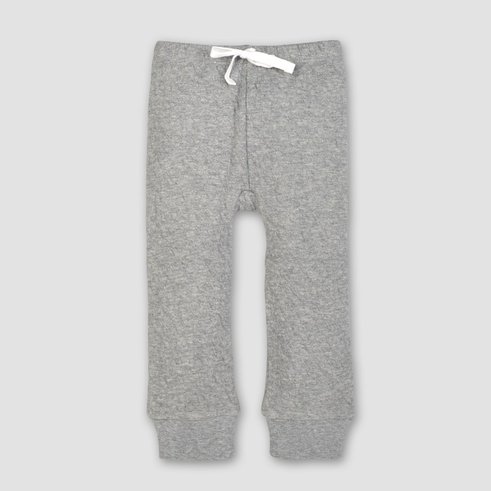 Burt's Bees Baby Organic Cotton Quilted Bee Pants - Heather Gray 6-9M, Infant Unisex