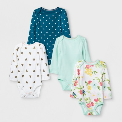 Baby Girls' 4pk Long sleeve Bodysuit - Cloud Island™ Mint 12M