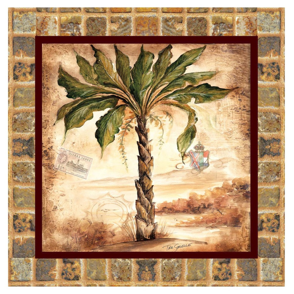 Thirstystone Palm II 4 Piece Occasions Coaster Set, Beige/Green/Brown