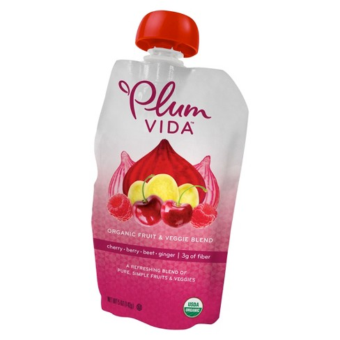 Plum Vida Organic Cherry-Berry-Beet-Ginger Fruit and Veggie Juice Blend - 5 fl oz Pouch - image 1 of 1