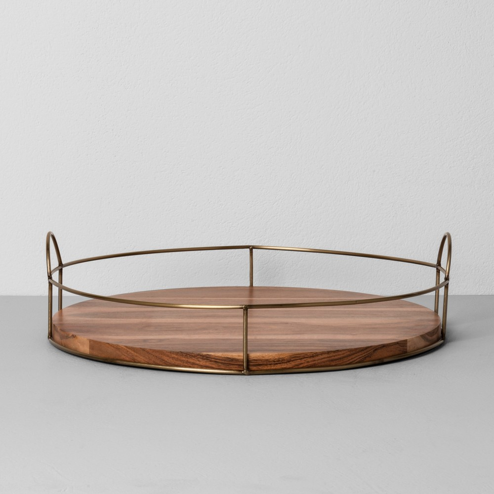 "Image of ""16"""" Round Wood and Wire Tray - Hearth & Hand with Magnolia"""