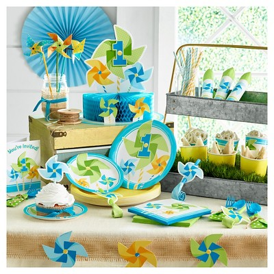 Baby's First Birthday Blue Pinwheels Party Supplies Collection