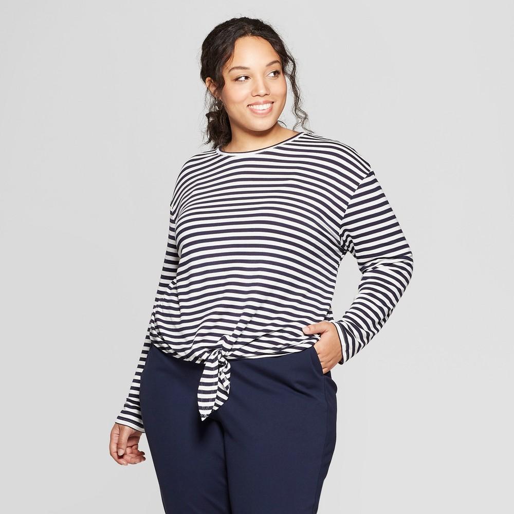 Women's Plus Size Striped Long Sleeve Tie Front T-Shirt - Ava & Viv Navy (Blue) X