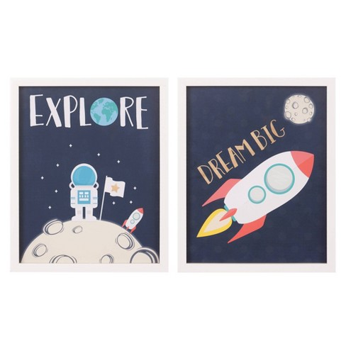 2pc 18 X22 Dream Big Explore Space Ship Framed Wall Art Print Set Nielsen Bainbridge Target