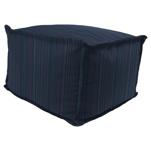 Outdoor Bean Filled Pouf/Ottoman In Sunbrella EscaPade Twillight - Jordan Manufacturing - image 1 of 2