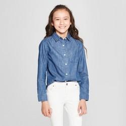 Girls' Woven Long Sleeve Button-Down Shirt - Cat & Jack™ Blue