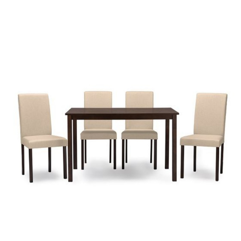 5pc Andrew Contemporary Wood Fabric Dining Set Dark Brown/Beige - Baxton Studio
