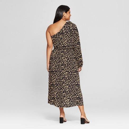Womens Plus Size Leopard Print Long Sleeve One Shoulder Midi Dress