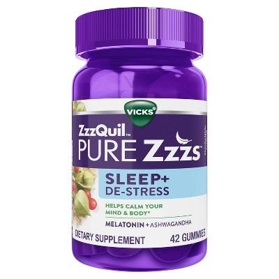 Vicks ZzzQuil PURE Zzzs De-Stress & Sleep Melatonin Sleep Aid Gummies