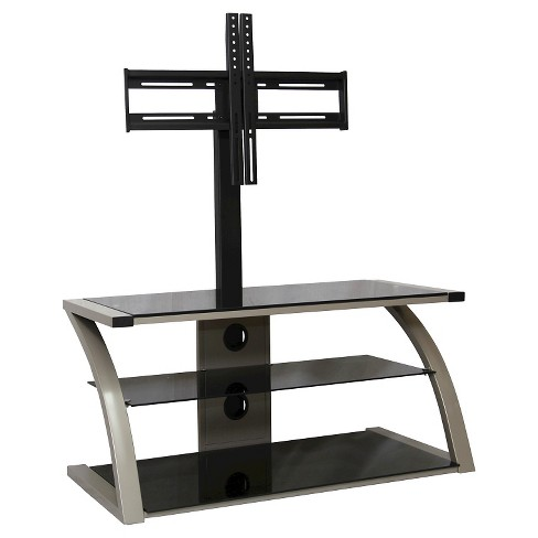 black glass tv stand Metal and Glass TV Stand Black 45