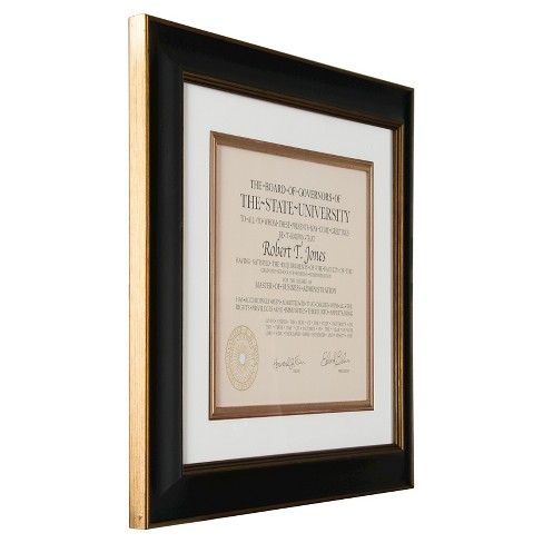 Pinnacle Frames 13x15 Document Frame Black Gold Target