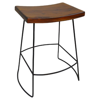 "Set of 2 24"" Portia Saddle Seat Counter Height Barstools Metal/Chestnut - Carolina Chair & Table"