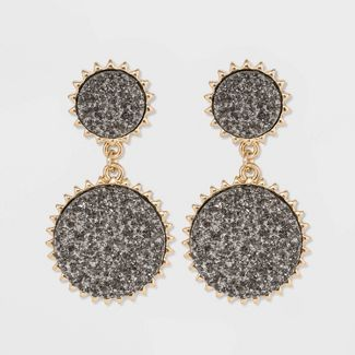 SUGARFIX by BaubleBar Galactic Druzy Drop Earrings - Silver