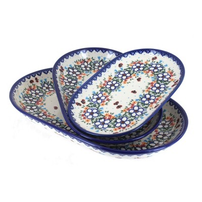 Blue Rose Polish Pottery Scarlett 3PC Oval Server Set