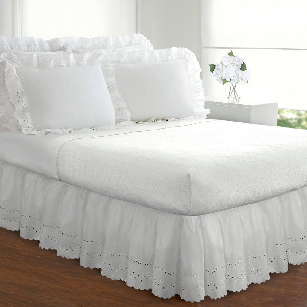 White Eyelet 14 Bed Skirt Twin
