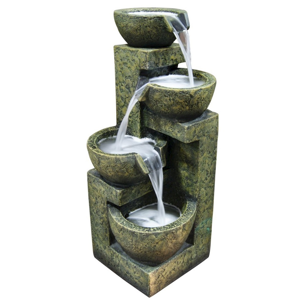 "Image of ""Alpine Corporation 24"""" Three Tier Stone Bowl Tabletop Fountain - Light Green"""