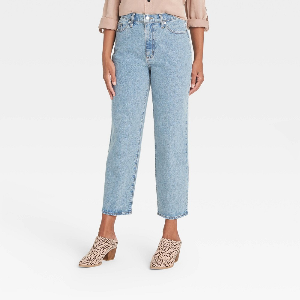 Women 39 S High Rise Vintage Straight Cropped Jeans Universal Thread 8482 Medium Denim Blue 8