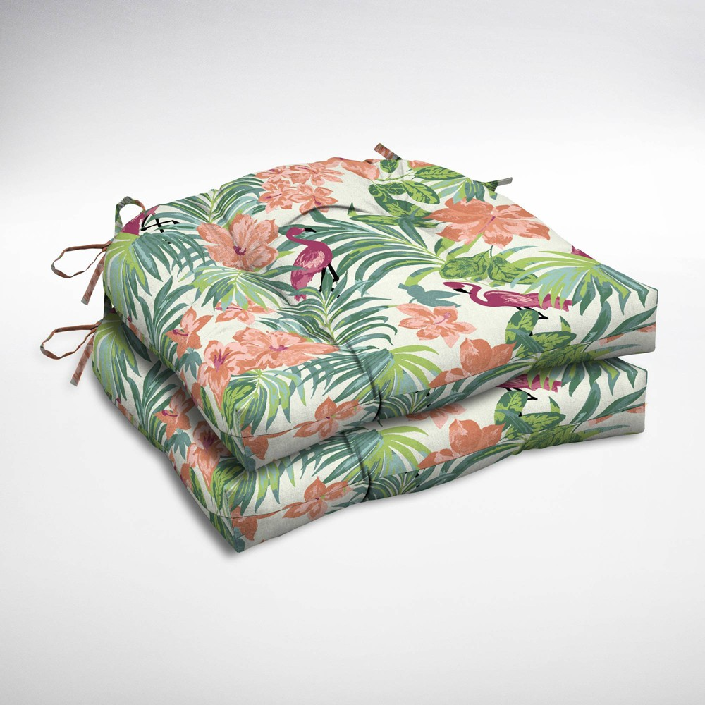 2pk Luau Flamingo Tropical Wicker Chair Cushions - Arden Selections, Multi-Colored
