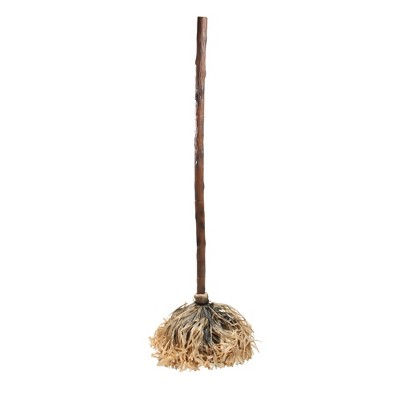 """Roman 47"""" Life-Size Sound Activated Musical Dancing Haunted Witches Broom Halloween Decoration - Brown"""