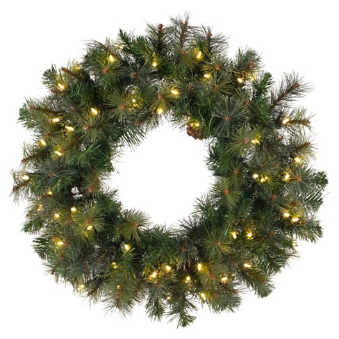 "42"" Pre-Lit Christmas Modesto Mix Wreath Green - White LED Lights - image 1 of 1"