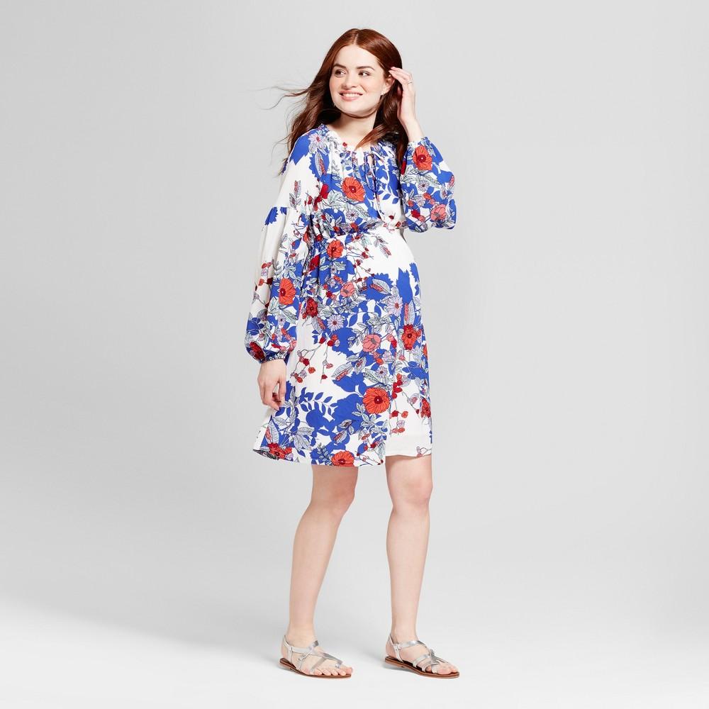 Maternity Floral Billow Sleeve Shirt Red Neckline Dress - Fynn And Rose White XL, Women's