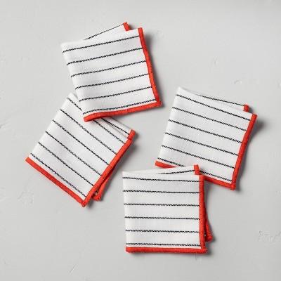 4pc Mini Stitched Border Thin Stripes Napkin Set Red/White - Hearth & Hand™ with Magnolia