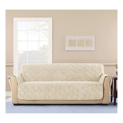 Chocolate Wide Wale Corduroy Sofa Furniture Cover   Sure Fit : Target