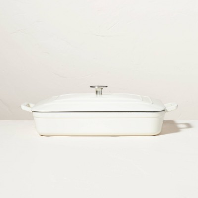 Enamel Coated Casserole/Bakeware Dish with Lid Cream - Hearth & Hand™ with Magnolia