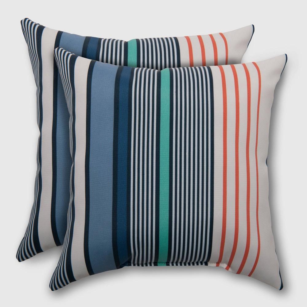 2pk Square Multi-Stripe Outdoor Pillow Seaside - Threshold, Blue
