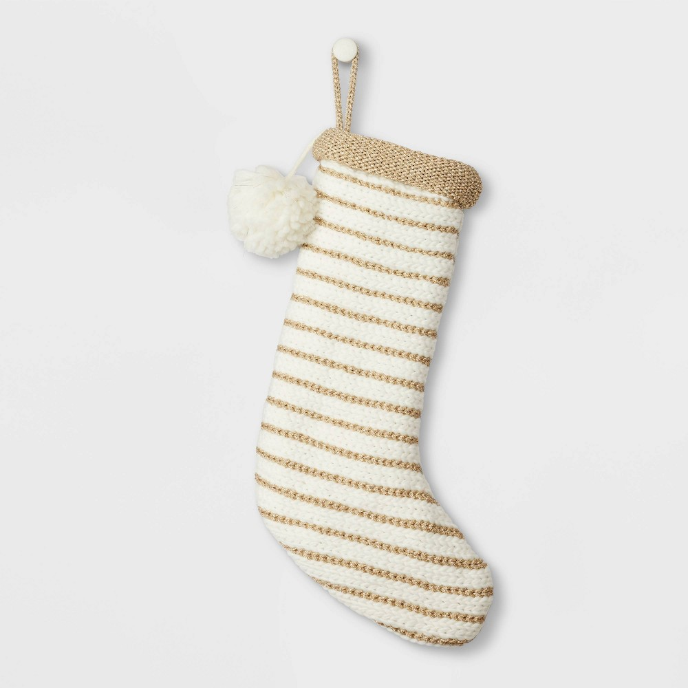 Image of Lux Striped Knit Christmas Stocking Gold - Wondershop , White Gold