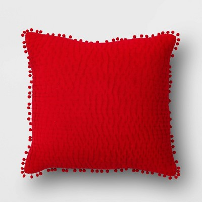 Square Velvet Valentine's Day Pillow with Mini Poms Red - Opalhouse™